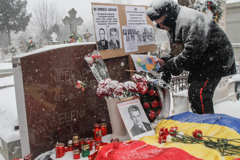 Åminnelse för Ceausescu ` s arkivfoto