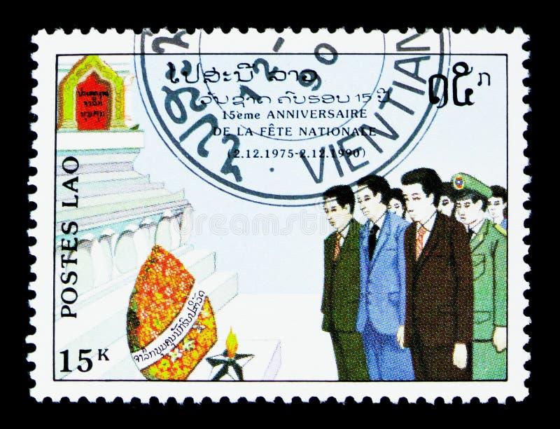 Åminnelse 15th årsdag av serien för republik för folk` s, circa 1990 royaltyfri bild