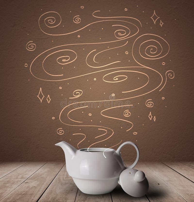 Ånga den varma drinken med klotter royaltyfri illustrationer
