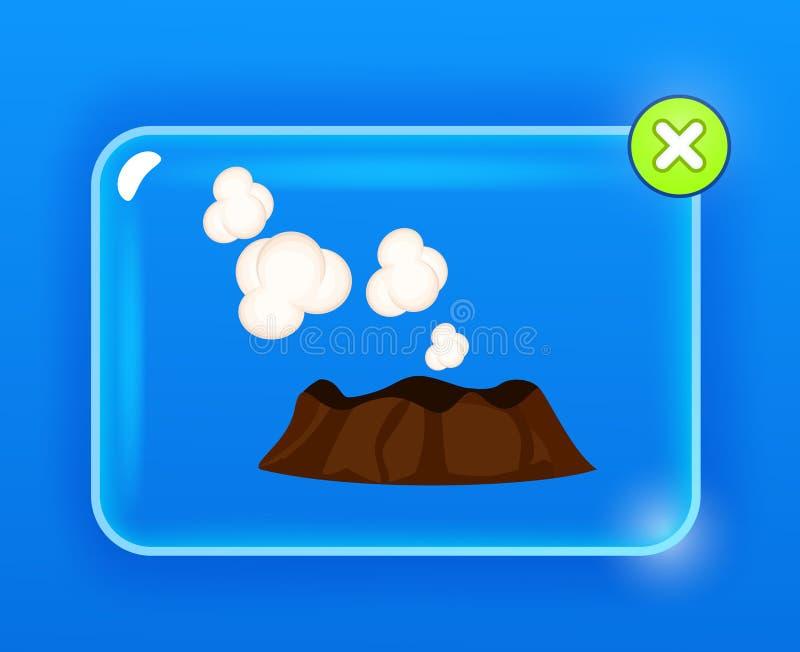 Ånga eller sova vulkan med vita moln vektor illustrationer