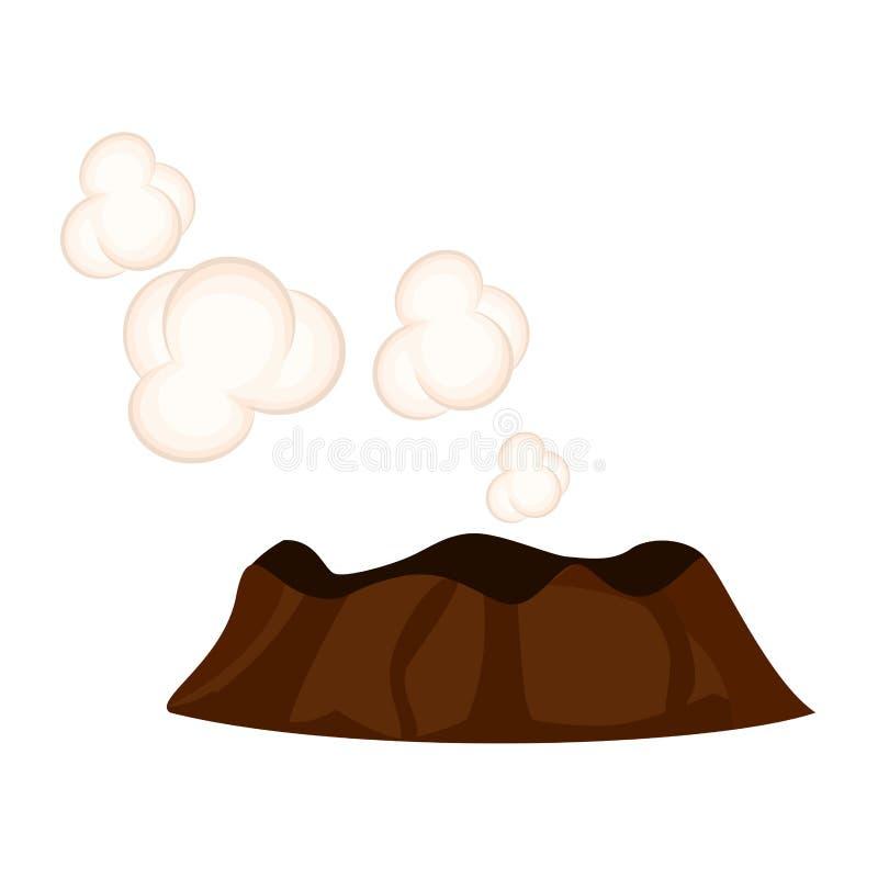 Ånga eller sova vulkan med vita moln royaltyfri illustrationer