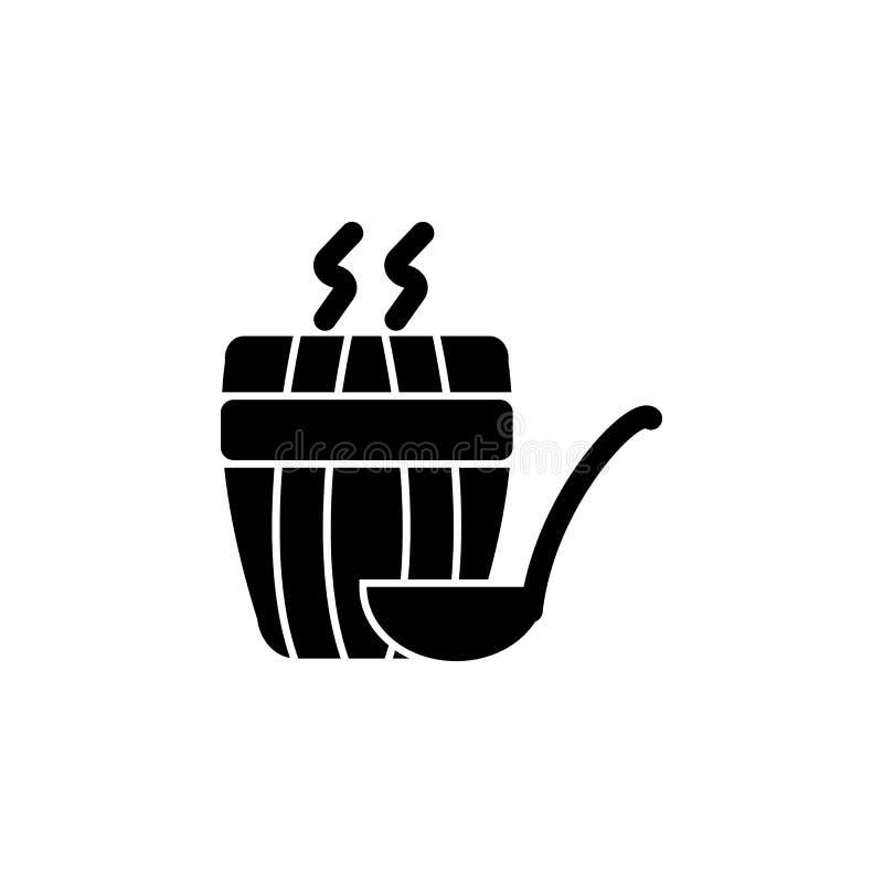 Ånga för bastusymbol Badrum- och bastubeståndsdelsymbol Högvärdig kvalitets- grafisk design Tecken översiktssymbolsamling royaltyfri illustrationer