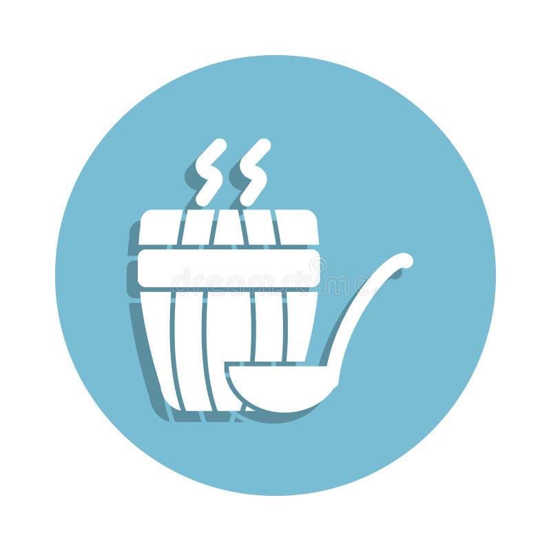Ånga för bastusymbol i emblemstil En av badrumsamlingssymbolen kan användas för UI, UX stock illustrationer