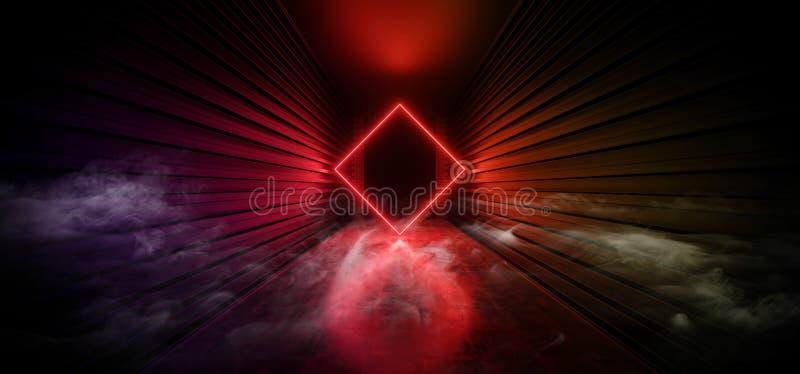 Ånga för dimma för Sci Fi rök formade futuristisk betong för laser Ring Portal Gate Light In för neon för regnbågen rosa röd glöd royaltyfri illustrationer