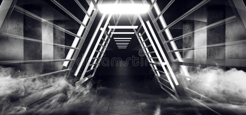 Ånga för rök för metallstrukturtriangeln fördunklar reflekterande glödande främmande rymdskeppSci Fi futuristiskt rum Hall royaltyfri illustrationer
