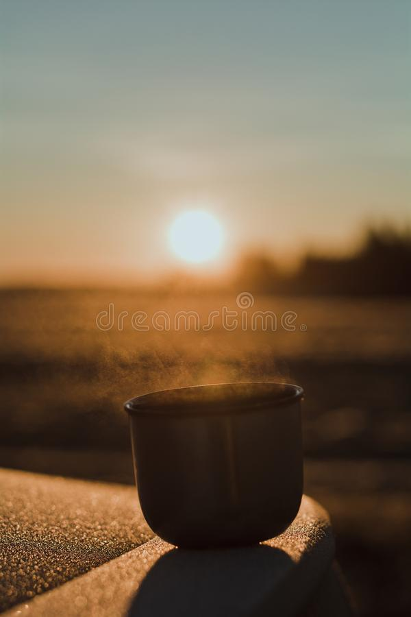 Ånga från ett varmt te rånar från en termos, som exponeras av vintermorgonsolen i ljuset stillhet royaltyfri foto