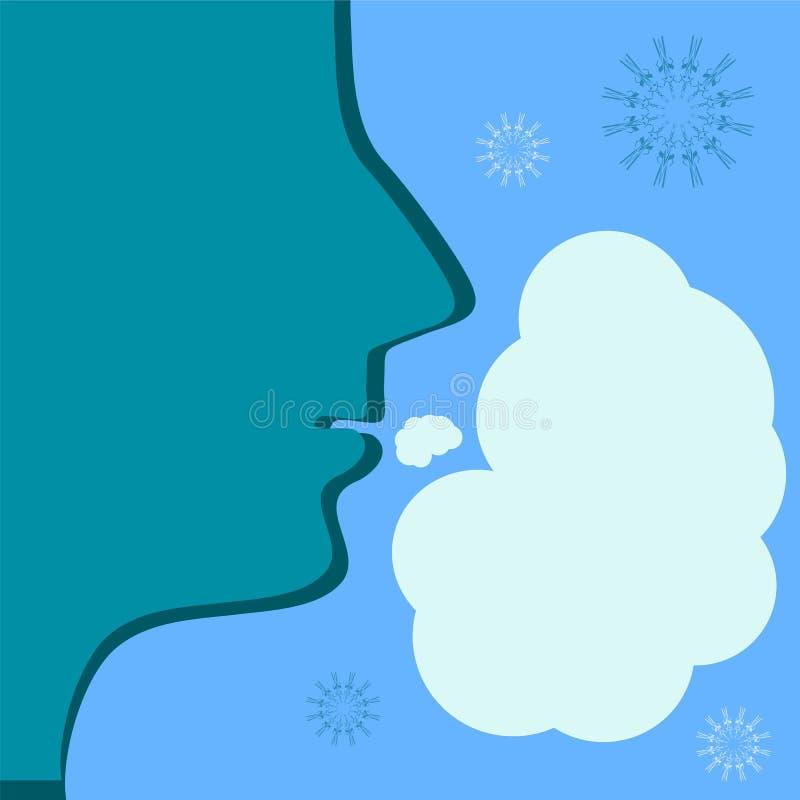 Ånga från munnen i kallt väder vektor illustrationer