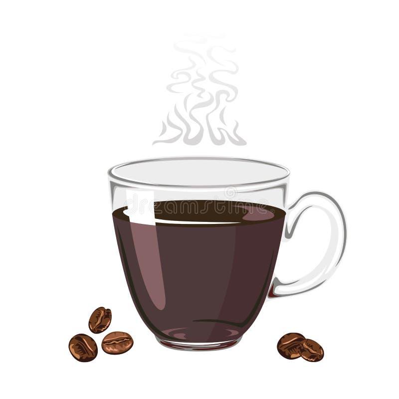 Ånga kaffe i en exponeringsglaskopp som isoleras på en vit bakgrund royaltyfri illustrationer