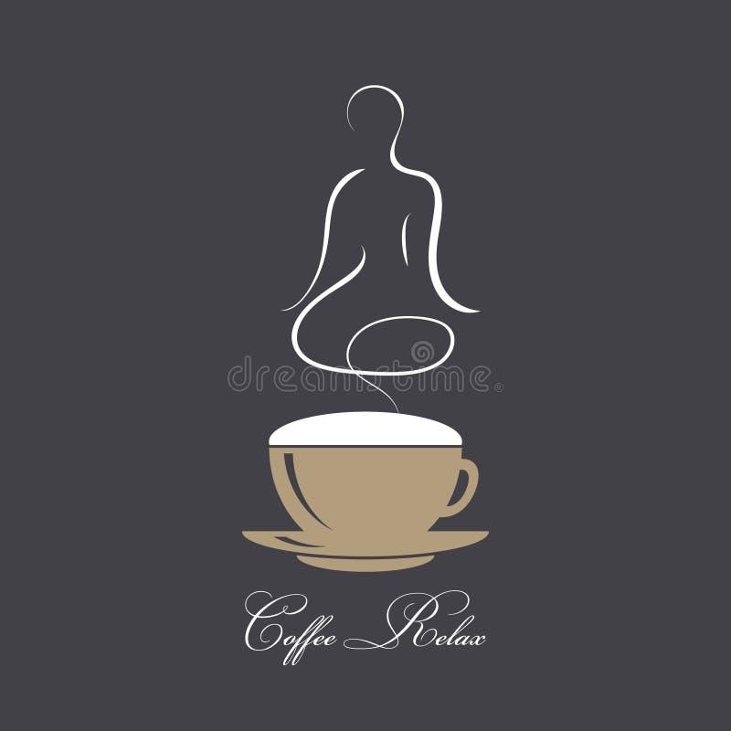Ånga kaffe med konturn av en kropp i yogalotusblommaassana Begrepp av kaffe och avkoppling Kaffetid, avbrott, vilar vektorn stock illustrationer