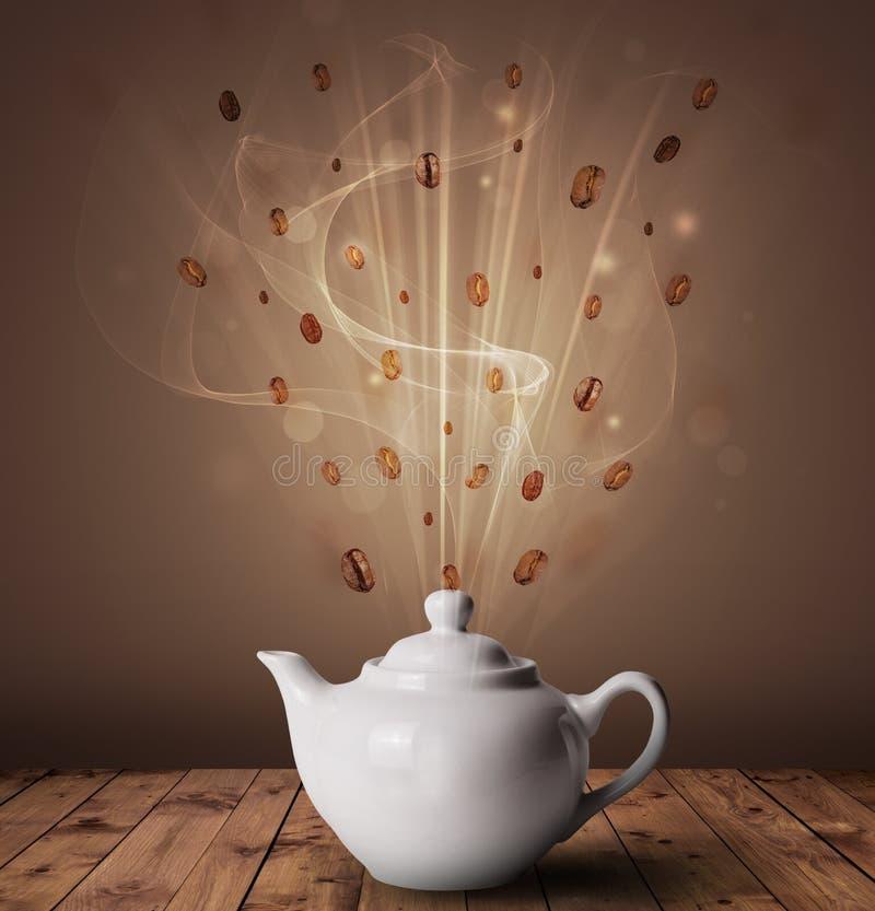 Ånga kaffebegrepp royaltyfri illustrationer