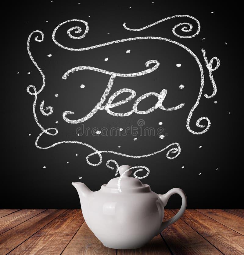 Ånga kopp te med vita klotter vektor illustrationer