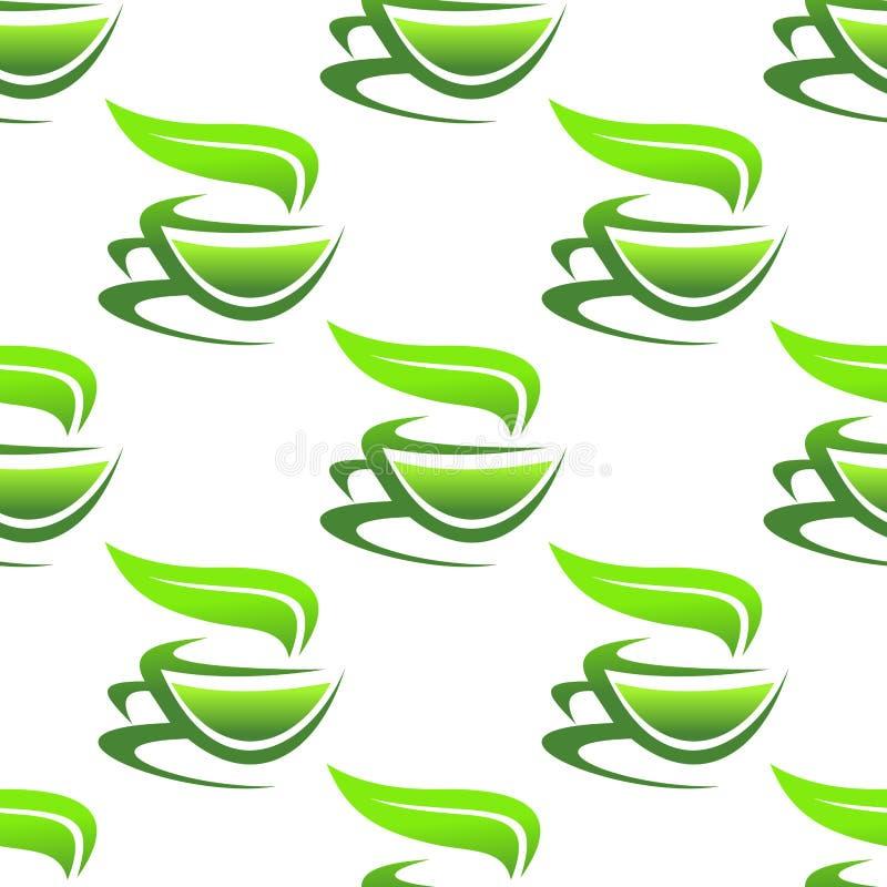 Ånga koppar av grönt te vektor illustrationer