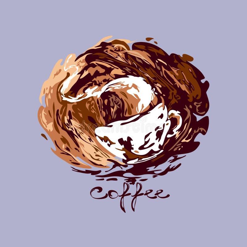 Ånga koppen för vitt kaffe i kaffefärgstänk med text vektor stock illustrationer