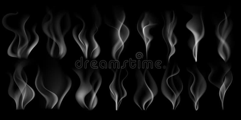 Ånga rök Varm ångaström och att röka molnet och ånga från uppsättning för illustration för vektor 3D för kaffekopp isolerad reali vektor illustrationer