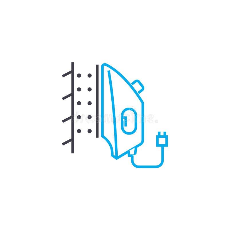 Ånga som stryker linjärt symbolsbegrepp Ångastrykninglinje vektortecken, symbol, illustration vektor illustrationer