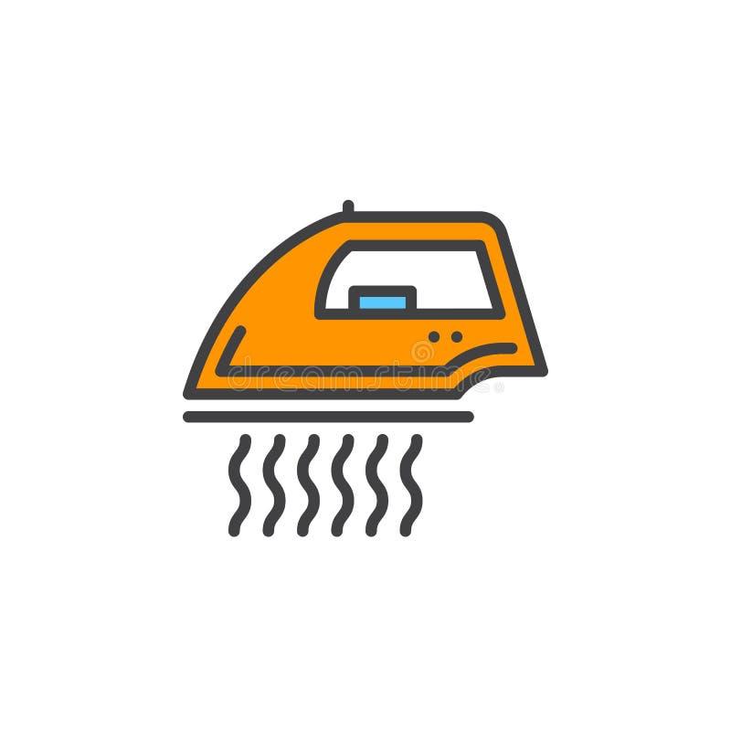 Ångajärn för kläderlinjen symbol, fyllt översiktsvektortecken, linjär färgrik pictogram som isoleras på vit vektor illustrationer