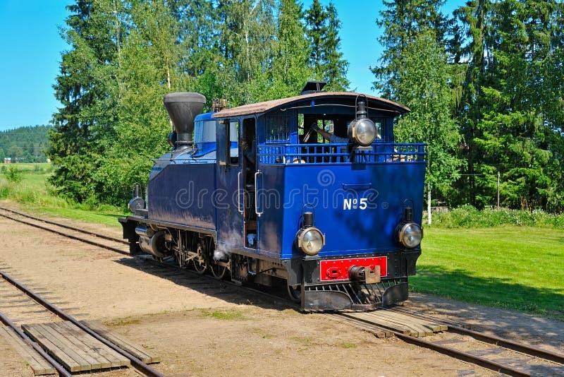 Ångalokomotiv för smal gauge. arkivbilder