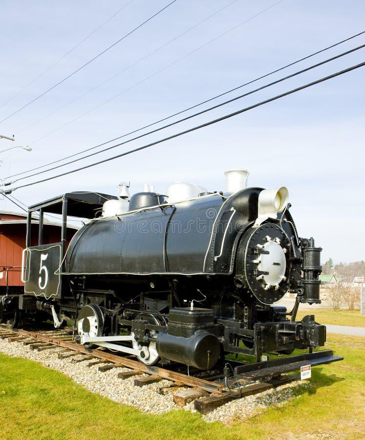 ångalokomotiv, Groveton, New Hampshire, USA arkivbild