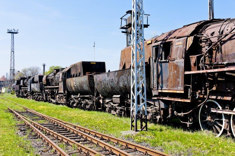 ångalokomotiv i det järnväg museet, Jaworzyna Slaska, Silesia royaltyfria bilder