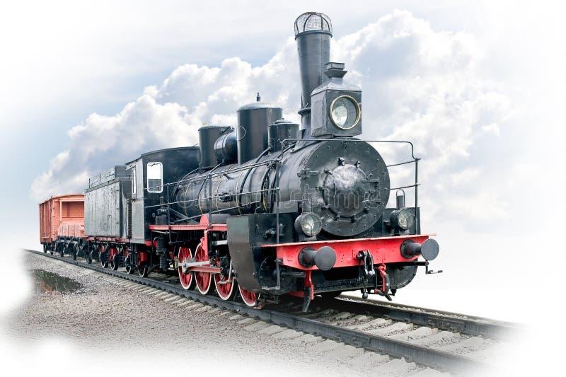 Ångalokomotiv med vagnen arkivfoton