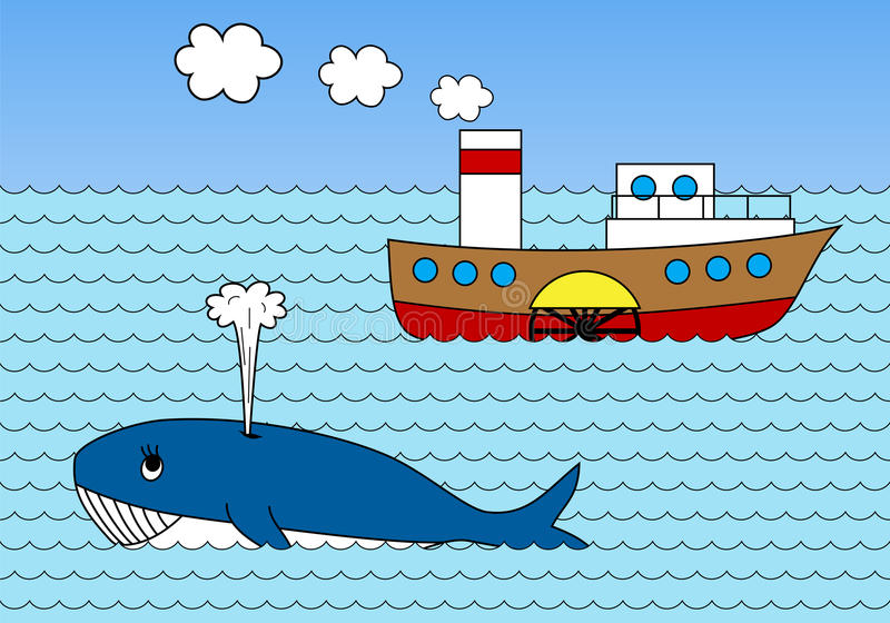 Ångare på havet stock illustrationer