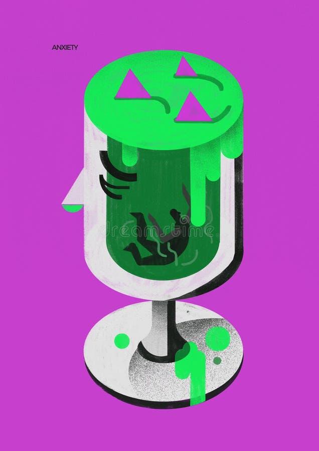 Ångestoordning kopp av gift i meningen royaltyfri bild