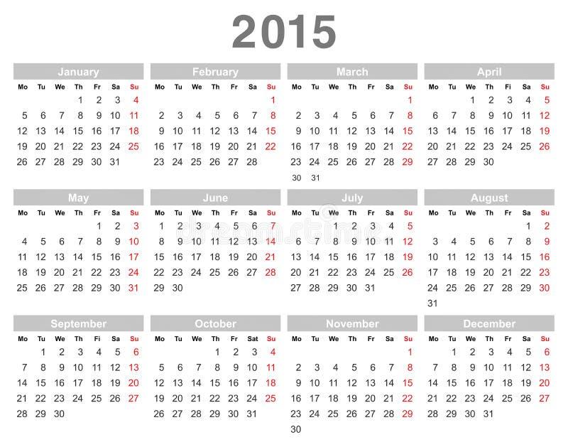 2015 år årlig kalender (måndag först, engelska) vektor illustrationer