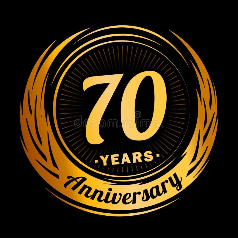 70 år årsdag Elegant årsdagdesign 70th logo stock illustrationer