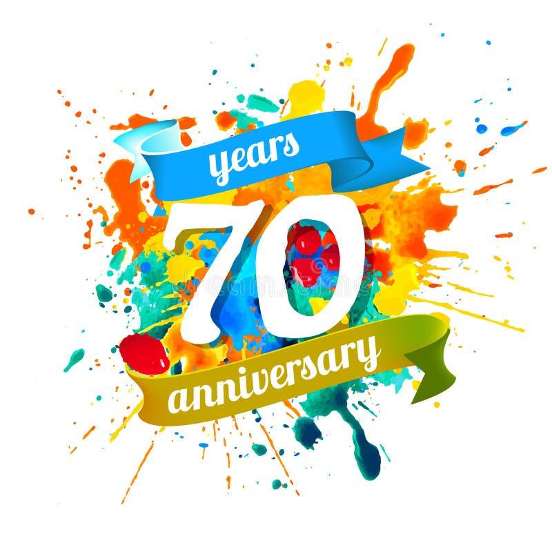 70 år årsdag Färgstänkmålarfärg vektor illustrationer