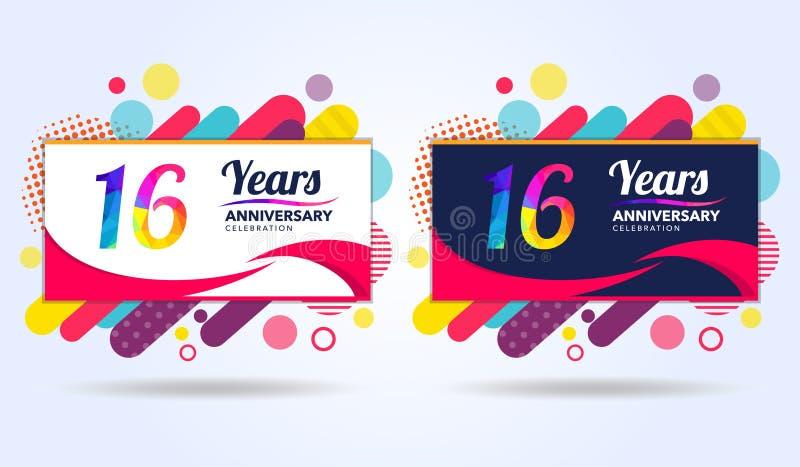 16 år årsdag med moderna fyrkantiga designbeståndsdelar, färgrik upplaga, berömmalldesign, popberömmall vektor illustrationer