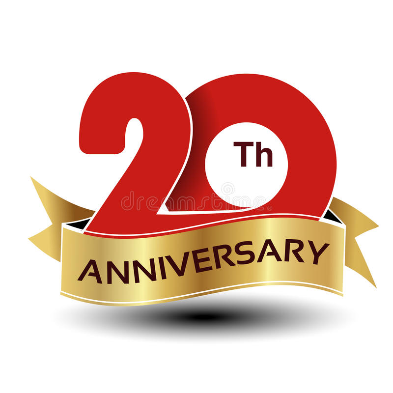 20 år årsdag, rött nummer med det guld- bandet vektor illustrationer