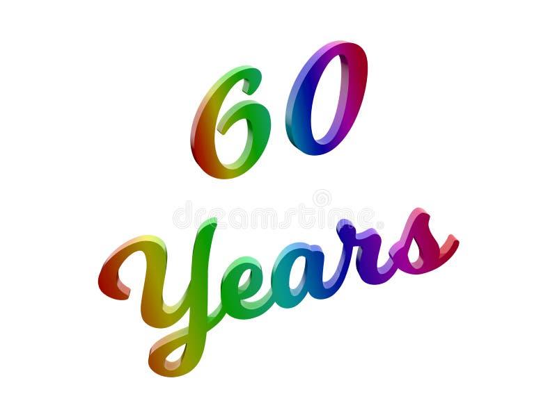 60 år årsdag, semestrar den Calligraphic 3D framförda textillustrationen som färgas med RGB-regnbågelutning arkivfoto