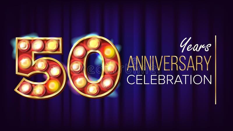 50 år årsdagbanervektor Femtio femtionde beröm Lampbakgrundssiffror För den lyxiga lyckliga födelsedagen stock illustrationer