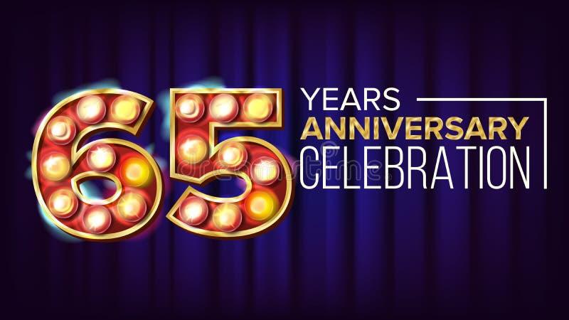 65 år årsdagbanervektor Sextiofem Sextio-femte beröm För neonljus för tappning guld- upplyst nummer royaltyfri illustrationer