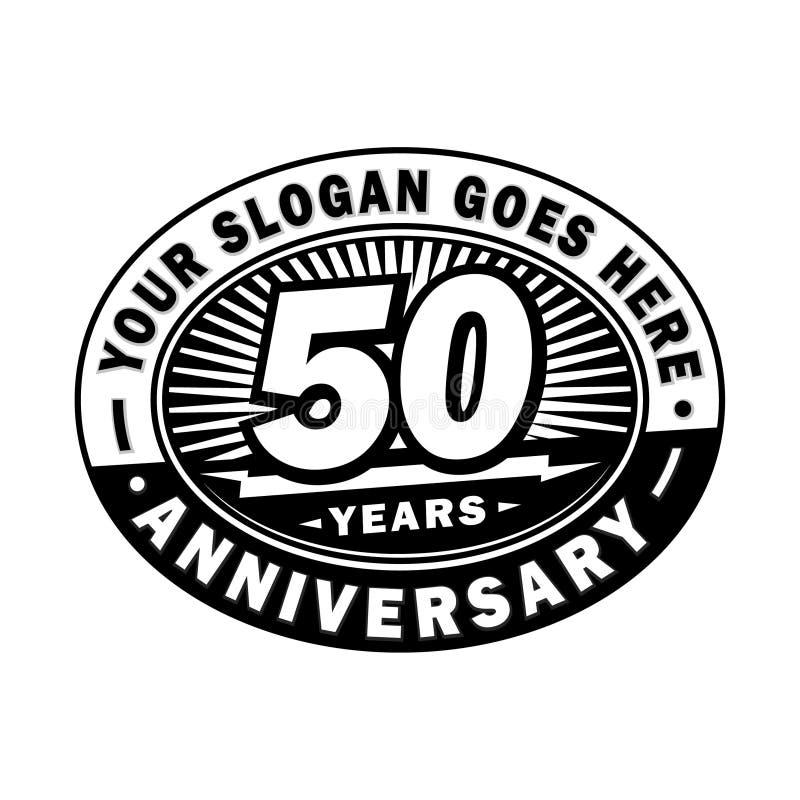 50 år årsdagberöm 50th årsdaglogodesign Femtio år logo stock illustrationer