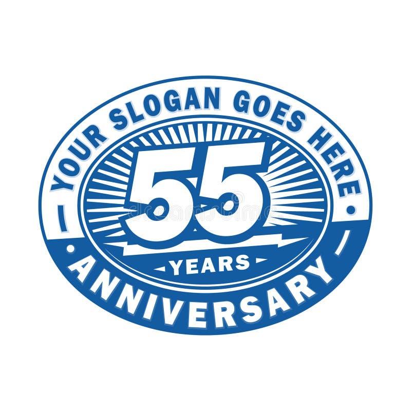 55 år årsdagberöm 55th årsdaglogodesign Femtiofem år logo stock illustrationer