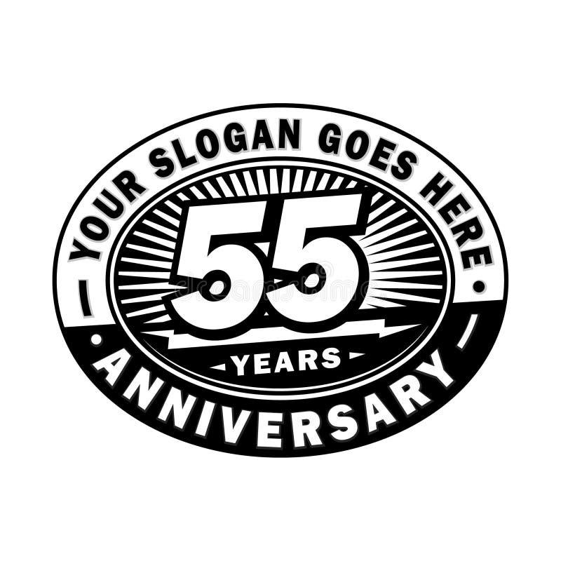 55 år årsdagberöm 55th årsdaglogodesign Femtiofem år logo vektor illustrationer