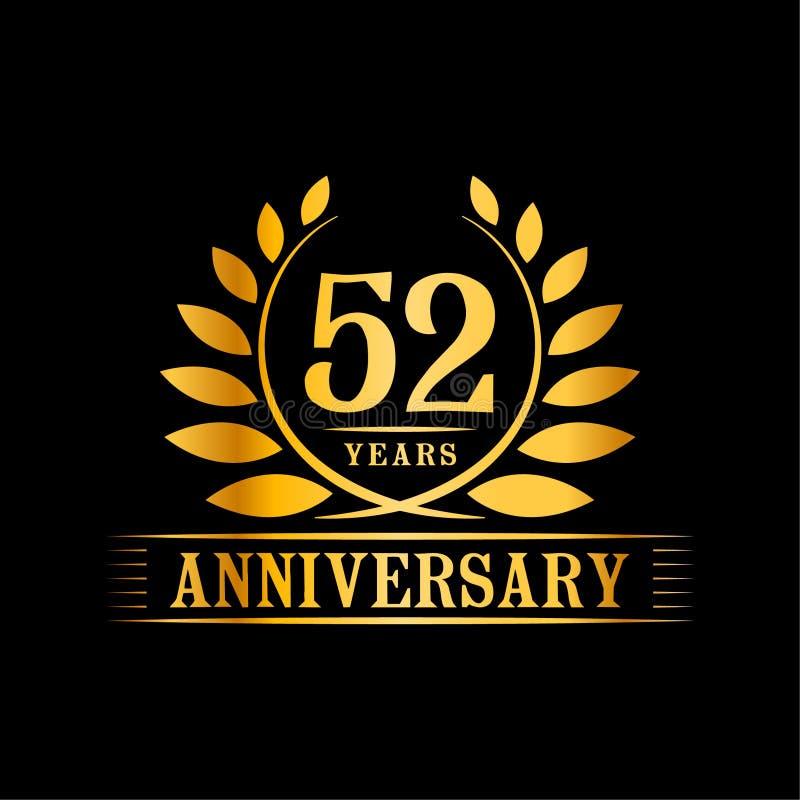 52 år årsdagberömlogo lyxig designmall för 52nd årsdag Vektor och illustration royaltyfri illustrationer