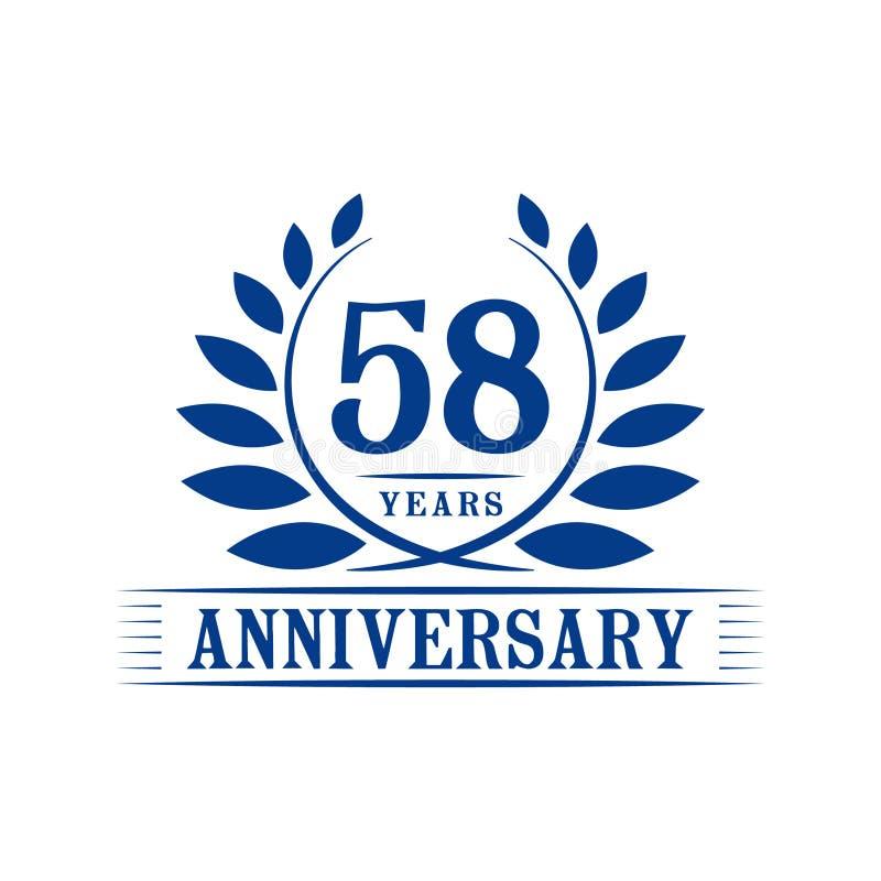 58 år årsdagberömlogo lyxig designmall för 58th årsdag Vektor och illustration vektor illustrationer