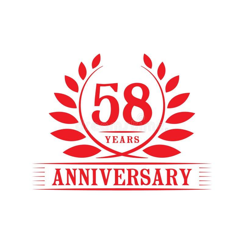58 år årsdagberömlogo lyxig designmall för 58th årsdag Vektor och illustration royaltyfri illustrationer