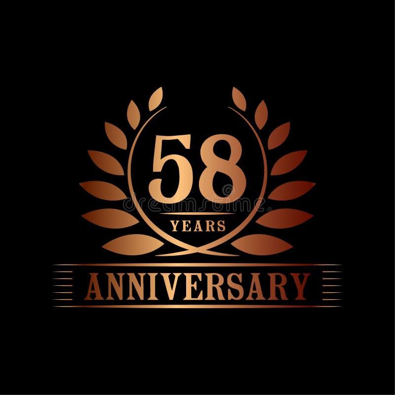 58 år årsdagberömlogo lyxig designmall för 58th årsdag Vektor och illustration stock illustrationer