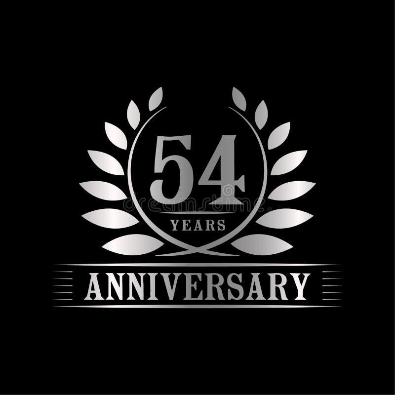 54 år årsdagberömlogo lyxig designmall för 54th årsdag Vektor och illustration stock illustrationer