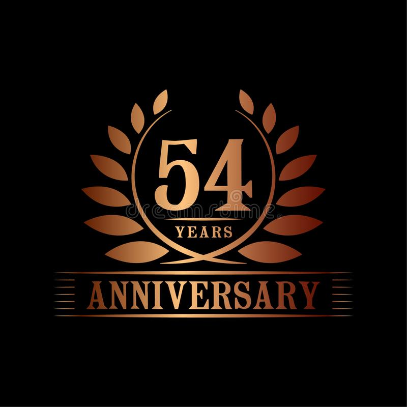 54 år årsdagberömlogo lyxig designmall för 54th årsdag Vektor och illustration royaltyfri illustrationer