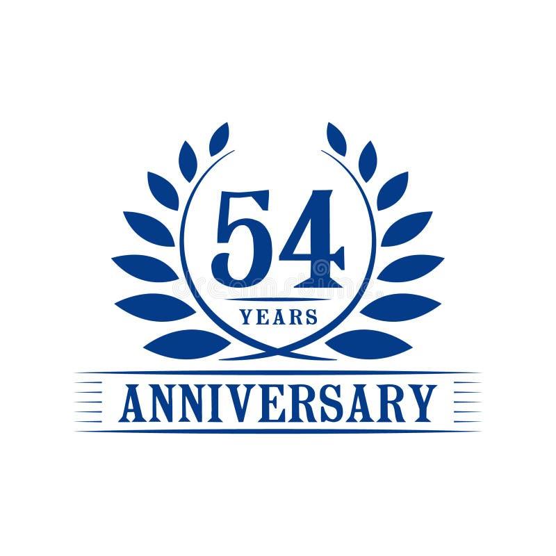 54 år årsdagberömlogo lyxig designmall för 54th årsdag Vektor och illustration vektor illustrationer