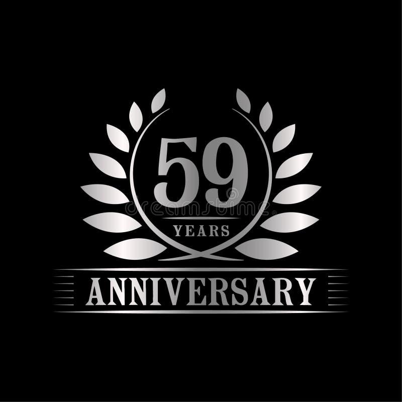 59 år årsdagberömlogo lyxig designmall för 59th årsdag Vektor och illustration royaltyfri illustrationer