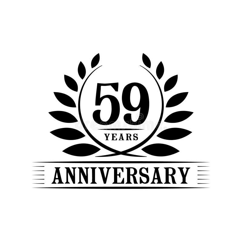 59 år årsdagberömlogo lyxig designmall för 59th årsdag Vektor och illustration stock illustrationer