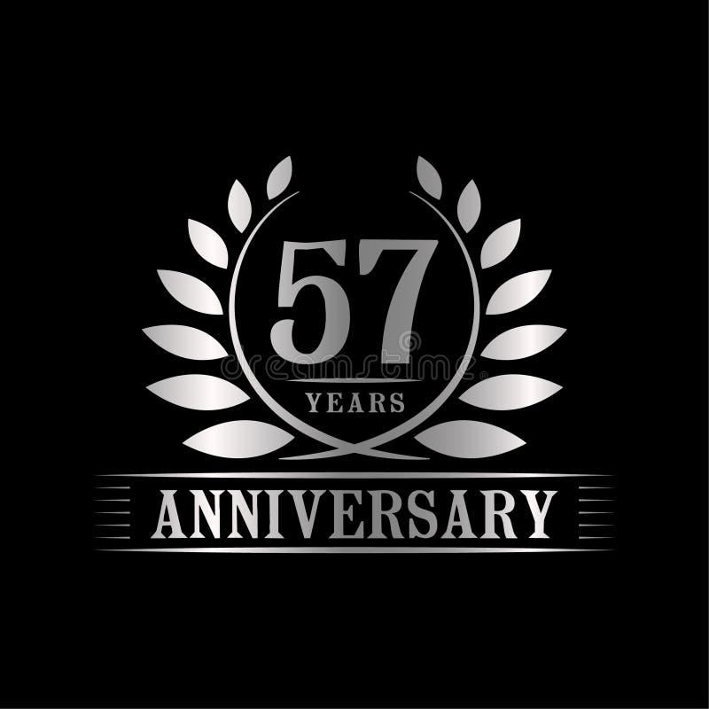 57 år årsdagberömlogo lyxig designmall för 57th årsdag Vektor och illustration stock illustrationer