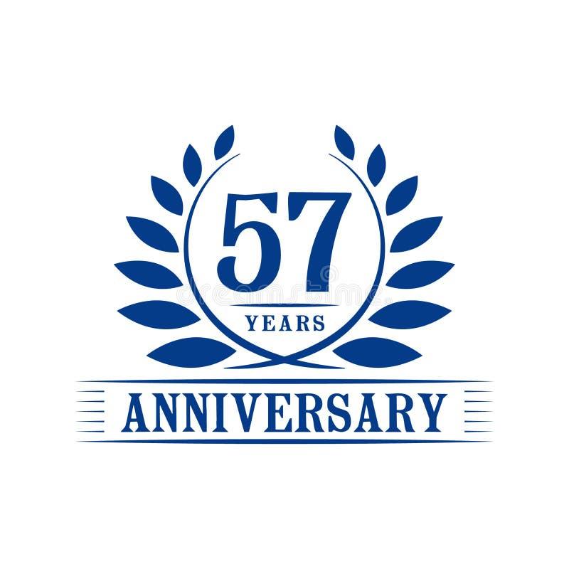 57 år årsdagberömlogo lyxig designmall för 57th årsdag Vektor och illustration vektor illustrationer
