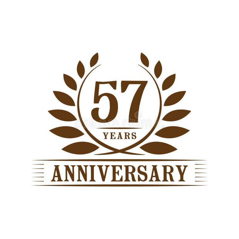 57 år årsdagberömlogo lyxig designmall för 57th årsdag Vektor och illustration royaltyfri illustrationer