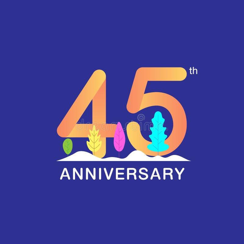45 år årsdagberömlogotyp Flerfärgat nummer med det modern bladet och snöbakgrund Design för häftet, broschyr, royaltyfri illustrationer